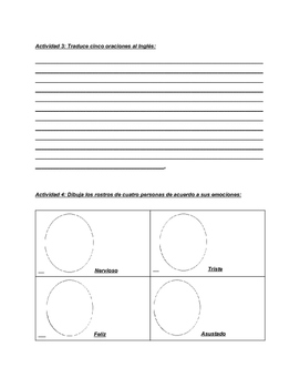 Sentimientos worksheets In Spanish (Feelings)