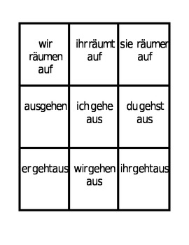Separable prefix verbs in German Spoons game / Uno game
