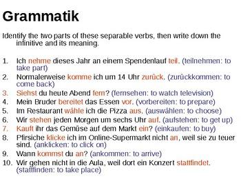 Separable verbs
