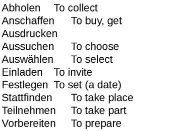 Separable verbs (Present Tense)
