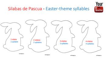 Separar silabas  - contar silabas centros dual language Easter Pascua