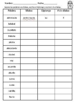 Separar silabas, contar silabas, identificar diptongos