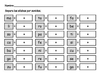 Separar silabas en sonidos