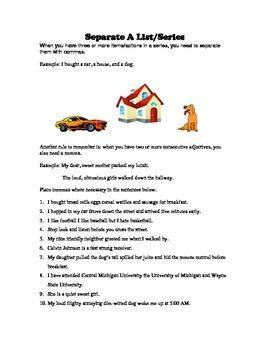Separate A List Or Series - Comma Rule Worksheet