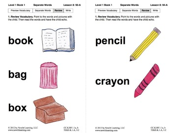 Separate Words in Sentences: Lesson 8, Book 1 (Newitt Prereading Series)