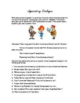 Punctuating Dialogue - Comma Rule Worksheet - Separate Dialogue in a sentence