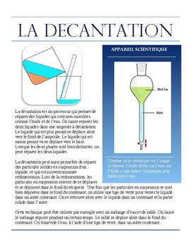 Separating Mixtures- Decantation French Immersion text