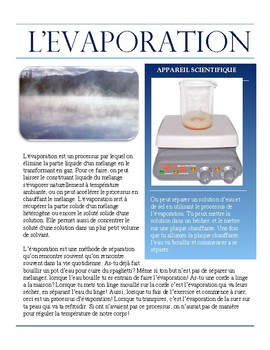 Separating Mixtures- Evaporation French Immersion text
