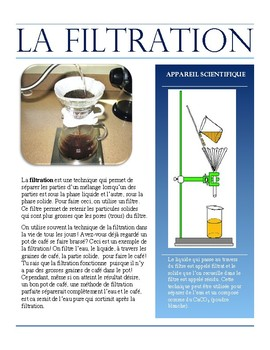 Separating Mixtures- Filtration French Immersion text