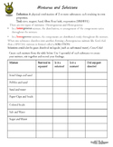 Separating Mixtures lab worksheet