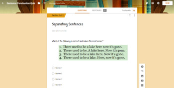 Separating Sentences Quiz for Google Classroom (Auto Grading)