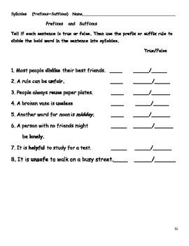 Separating Syllables!  Prefixes- Suffixes
