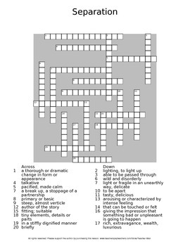 Separating by John Updike Guided Reading Worksheet Wordsearch Crossword Puzzles