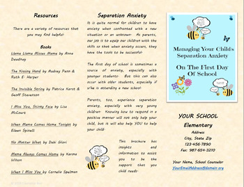 Separation Anxiety Brochure Back to School Beginning Of Year Parent Resource