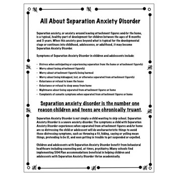 Separation Anxiety Disorder: A Handout for Parents, Staff, and Adolescents