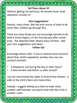 Separation Anxiety Editable Letter For Parents By The