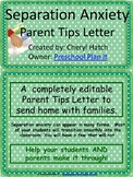 Separation Anxiety Editable Letter for Parents