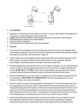 Separation of Components of a Mixture Lab