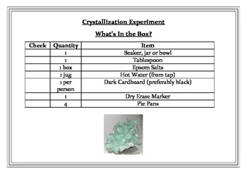 Separating Mixtures - Crystallization Experiment in a Box