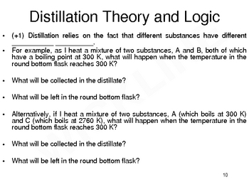 Separation of Mixtures by Distillation