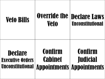 Separation of Powers Card Sort and Interactive Notebook Activity