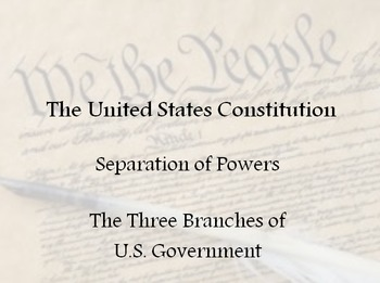 Separation of Powers - The Three Branches of the U.S. Government
