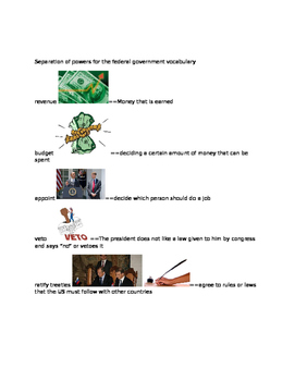 Separation of  Powers for the federal government essential vocabulary