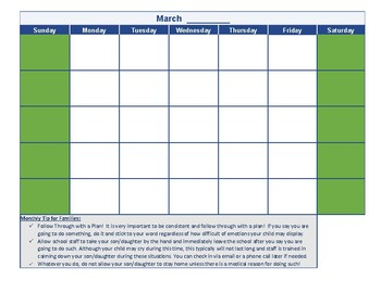 Seperation Anxiety Calendar