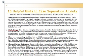 Seperation Anxiety / School Phobia Information Handout