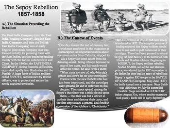 Sepoy Rebellion Activity-Common Core-Close Read-Homework
