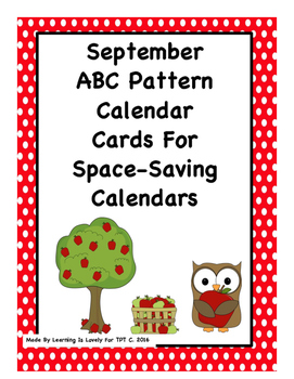 Sept. Calendar Cards: Cute Pics And Pattern: Fit Regular and Small Calendars