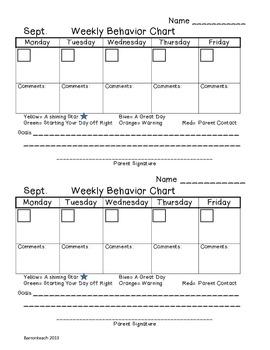 Sept. Weekly Behavior Chart