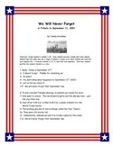 September 11 Reader's Theater, Lesson Plan, & Activities