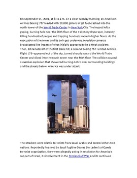 September 11, 2001 Reading w/ questions  (U.S. History)