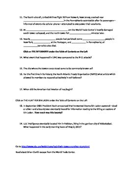 September 11, 2001 WebQuest