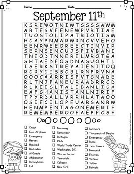 September 11 Activity: September 11th Word Search: 9/11: Patriot Day