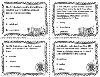 September 11 (9/11) Choice Board: Suggestions, Resources & Task Cards Included