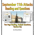 September 11 Attacks - Reading and Questions with Key (9/11)