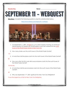 September 11 Attacks - Webquest with Key