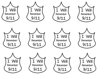 "September 11 Badges ""I Will Remember 9/11"""