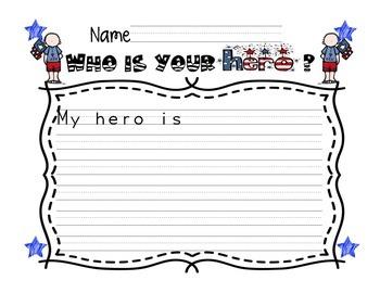 September 11 Hero Writing Template veterans day