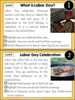 September 11, Labor Day, Constitution Leveled Nonfiction Reading Passages
