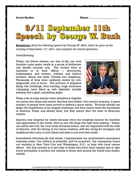 September 11 - Speech Analysis by George W. Bush - Questio