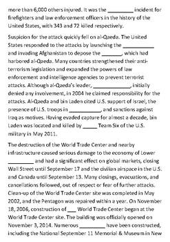 September 11 Cloze Activity