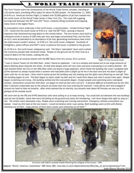 September 11th (9/11) Terrorist Attacks Primary Source Stations Activity