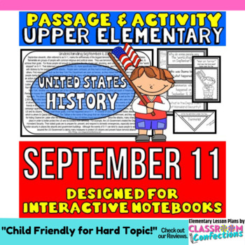 September 11 - 9/11: Passage and Questions: Interactive Notebook: Patriot Day