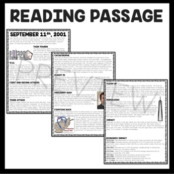September 11th Attacks Informational Text Reading Comprehension Worksheet