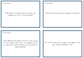 September 11th Discussion Question Cards