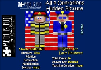 September 11th Heroes - 9/11 Mystery Picture - Four opperations and color name