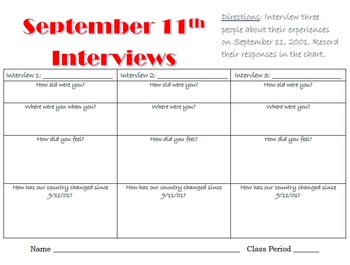 September 11th Interview Activity